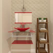 Gabinete de vidro 60cm ac com cuba retangular - vermelho ferrari - Cubas E Gabinetes