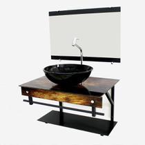 Gabinete de vidro 60cm apx com cuba redonda - madeira rústica - Cubas E Gabinetes