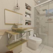 Gabinete de vidro 60cm iq inox com cuba quadrada - champanhe - Cubas E Gabinetes