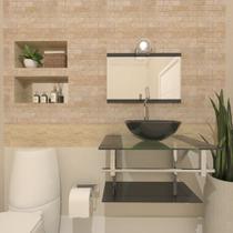 Gabinete de vidro 60cm iq inox com cuba redonda - grafite - Cubas E Gabinetes