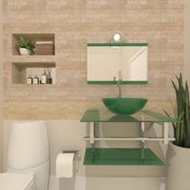 Gabinete de vidro 60cm iq inox com cuba redonda - verde - Cubas E Gabinetes