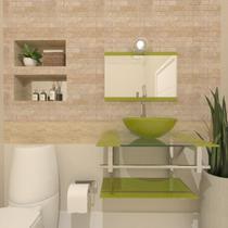 Gabinete de vidro 60cm iq inox com cuba redonda - verde oliva - Cubas E Gabinetes