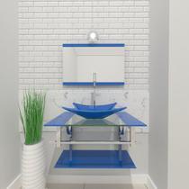 Gabinete de vidro 60cm iq inox com cuba retangular - azul - Cubas E Gabinetes