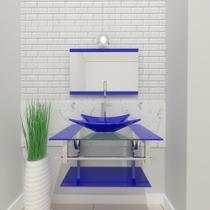 Gabinete de vidro 60cm iq inox com cuba retangular - azul escuro - Cubas E Gabinetes