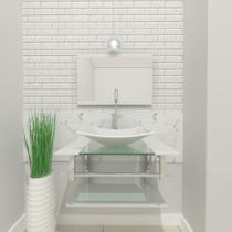 Gabinete de vidro 60cm iq inox com cuba retangular - branco - Cubas E Gabinetes