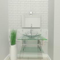Gabinete de vidro 60cm iq inox com cuba retangular - incolor - Cubas E Gabinetes