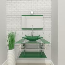Gabinete de vidro 60cm iq inox com cuba retangular - verde - Cubas E Gabinetes