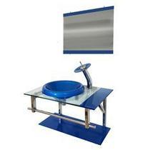 Gabinete de vidro 70cm iq inox com cuba chapéu redonda - azul escuro - Cubas E Gabinetes