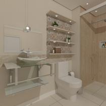 Gabinete de vidro 70cm iq inox com cuba quadrada - branco - Cubas E Gabinetes