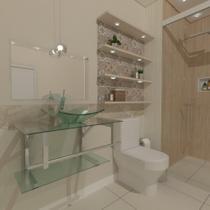 Gabinete de vidro 70cm iq inox com cuba quadrada - incolor - Cubas E Gabinetes