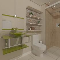 Gabinete de vidro 70cm iq inox com cuba quadrada - verde oliva - Cubas E Gabinetes