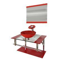 Gabinete de vidro 70cm iq inox com cuba redonda - vermelho ferrari - Cubas E Gabinetes