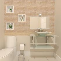 Gabinete de vidro 70cm iq inox com cuba retangular - branco - Cubas e Gabinetes