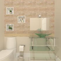 Gabinete de vidro 70cm iq inox com cuba retangular - incolor - Cubas E Gabinetes