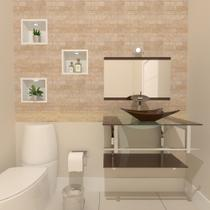 Gabinete de vidro 70cm iq inox com cuba retangular - marrom - Cubas E Gabinetes