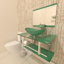Gabinete de vidro 80cm iq inox com cuba oval - verde - Cubas E Gabinetes
