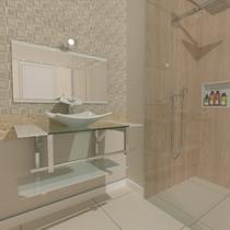 Gabinete de vidro 80cm iq inox com cuba quadrada - branco - Cubas E Gabinetes