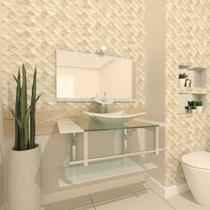 Gabinete de vidro 80cm iq inox com cuba retangular - branco - Cubas E Gabinetes