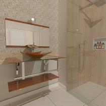 Gabinete de vidro 90cm iq inox com cuba quadrada - dourado real - Cubas E Gabinetes
