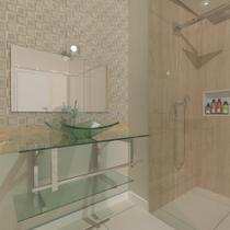 Gabinete de vidro 90cm iq inox com cuba quadrada - incolor - Cubas E Gabinetes