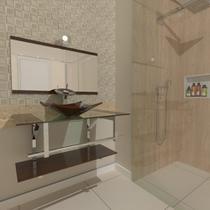 Gabinete de vidro 90cm iq inox com cuba quadrada - marrom - Cubas E Gabinetes
