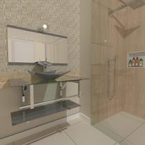 Gabinete de vidro 90cm iq inox com cuba quadrada - prata - Cubas E Gabinetes