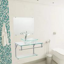 Gabinete De Vidro para Banheiro Paris Com Torneira Cascata - Vildrex
