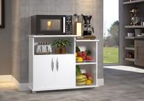 Gabinete Fruteira Balcão 2 Portas Chão Cozinha Na Cor Branca Com Rodas - Clickforte