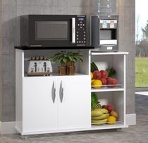 Gabinete Fruteira Balcão 2 Portas Chão Cozinha Na Cor Preta Com Rodas - Clickforte