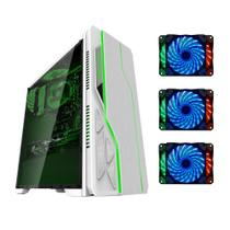 Gabinete gamer bg-009 branco bluecase - usb 3.0 + 3 coolers led 7 cores rgb