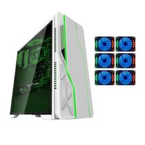Gabinete gamer bg-009 branco bluecase - usb 3.0 + 6 coolers led 7 cores rgb
