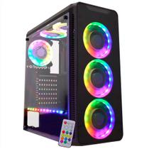 Gabinete Gamer K-Mex Infinity - Frontal em Vidro - 3 Coolers e Fita RGB - Controle Remoto - CG-10G8 -
