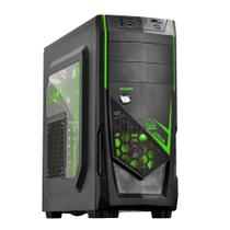 Gabinete Gamer PCYes Java Mid Tower LED Verde Sem Fonte