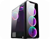 Gabinete Gamer Vidro Fumê Lateral 3 Fans Ring 5 LED Cores Infinity I CG-01G8 K-MEX Sem Fonte -