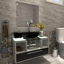 Gabinete para Banheiro 1 Gaveta Cuba com Espelho Tampo Vidro Bahrein I7 Branco/Preto - I7 Gabinetes