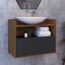 Gabinete para Banheiro 1 Porta Breno Estilare Móveis Preto/Madeirado -