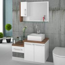 Gabinete para Banheiro 2 Portas 1 Gaveta com Cuba Q35 e Espelheira Legno 830W Compace -