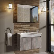 Gabinete para Banheiro 2 Portas com Cuba e Espelheira Paris 80 Balcony Branco Supremo/Arinto -
