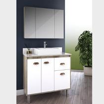Gabinete para Banheiro 80cm com Cesto para Roupa Lilies Móveis - Móveis São João
