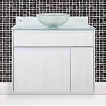 Gabinete para Banheiro com Cuba de Vidro Parati Móveis Bonatto Rovere Sereno -