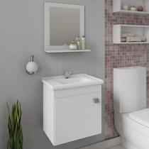 Gabinete Para Banheiro com Cuba e Espelheira 1 Porta 1 Prateleira Íris MGM Móveis Branco -
