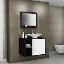 Gabinete para Banheiro com Cuba e Espelheira Baden Móveis Bechara Preto/Branco -