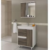 Gabinete para Banheiro com Cuba e Espelheira com LED Viena 65 Balcony Branco Supremo/Merlot -