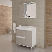 Gabinete para Banheiro com Cuba e Espelheira com LED Viena 80 Balcony Branco Supremo/Connect -