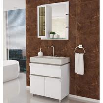 Gabinete para Banheiro com Cuba e Espelheira Grécia 80 Balcony Branco Supremo/Connect -
