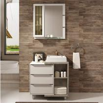 Gabinete para Banheiro com Cuba e Espelheira Mônaco 80 Balcony Branco Supremo/Arinto -