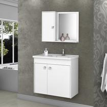 Gabinete para Banheiro com Cuba e Espelheira Munique Móveis Bechara Branco -