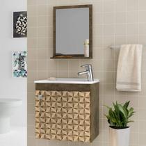 Gabinete para Banheiro com Cuba e Espelheira Siena Móveis Bechara Madeira Rústica/3D -