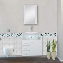 Gabinete para Banheiro com Cuba e Espelheira Tampo de Vidro 62cm Classic Móveis Bonatto Branco -