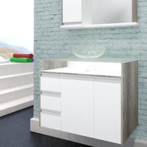 Gabinete para Banheiro com Cuba e Tampo de Vidro 1 Porta 1 Cesto Aramado 3 Gavetas Sonatta Móveis Bonatto Branco/Carvalho -